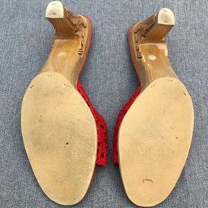 Vintage Shoes - Vintage Karvings Cherry Red Tiki Wood Heels